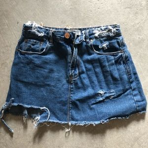 Forever 21 distressed jean skirt